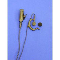 SUPERIOR RANGE BLACK  SOFT RUBBER ADJUSTABLE G-SHAPE RADIO EARPIECE & MIC 2 WIRE CHASSIS IN BLACK